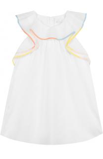 Хлопковое платье свободного кроя с оборкой и контрастной отделкой Chloé