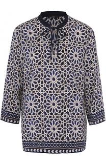 Блуза с укороченным рукавом и контрастным принтом Windsor