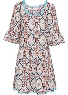 Платье с принтом и коротким рукавом (белый/бирюзовый) Bonprix
