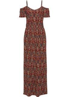 Трикотажное макси-платье с вырезами (зеленый мох с узором) Bonprix