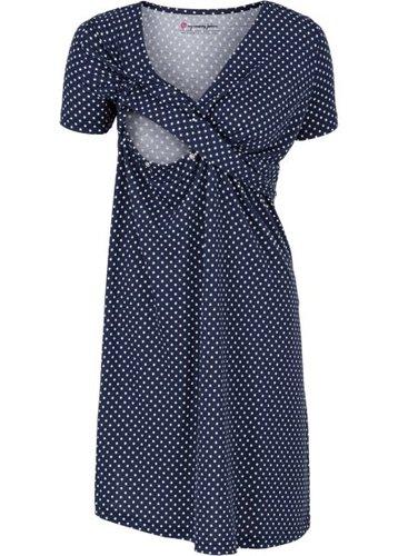 Мода для беременных и кормящих мам: трикотажное платье-стретч с коротким рукавом (темно-синий/белый в горошек)