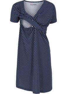 Мода для беременных и кормящих мам: трикотажное платье-стретч с коротким рукавом (темно-синий/белый в горошек) Bonprix