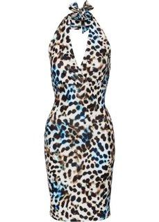 Платье с леопардовым узором (леопардовый/синий) Bonprix