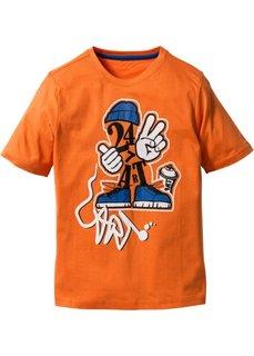 Футболка с принтом, Размеры  116/122-164/170 (оранжевый с рисунком) Bonprix