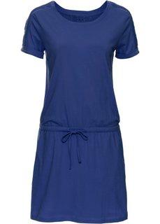 Платье с коротким рукавом и лентой для завязывания в талии (темно-синий) Bonprix