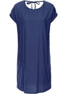 Платье с широким вырезом в области спинки и коротким рукавом (темно-синий меланж) Bonprix