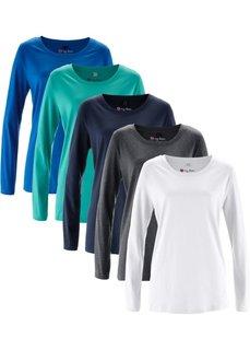 Удлиненная футболка с длинными рукавами (5 штук в упаковке) (лазурный/зеленый океан/темно-синий/антрацитовый меланж/белый) Bonprix
