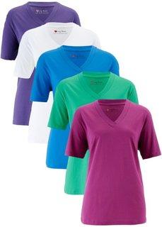 Удлиненная футболка с коротким рукавом (5 шт.) (фиолетовая орхидея + нефритовый + морская синь + белый + лиловый) Bonprix