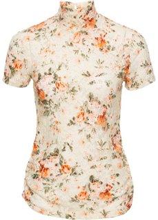 Блузка с высоким воротником (цвет белой шерсти с узором) Bonprix