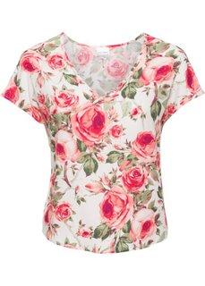 Трикотажная блузка (цвет белой шерсти в цветочек) Bonprix