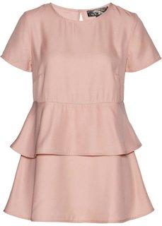 Блузка с баской (винтажно-розовый) Bonprix