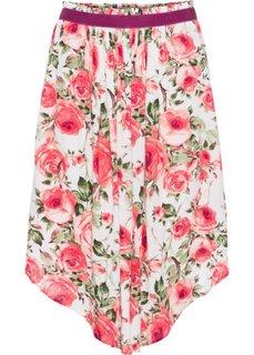 Широкая юбка-миди (цвет белой шерсти в цветочек) Bonprix