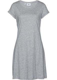 Трикотажное платье с коротким рукавом (светло-серый меланж) Bonprix