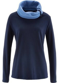 Флисовый свитер с длинным рукавом (темно-синий) Bonprix