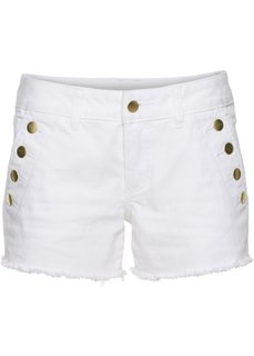 Джинсовые шорты с пуговицами (белый деним) Bonprix
