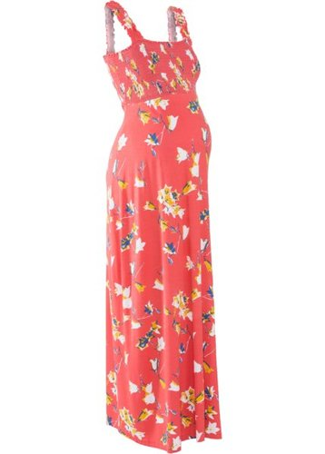 Мода для беременных: макси-платье (коралловый с рисунком)