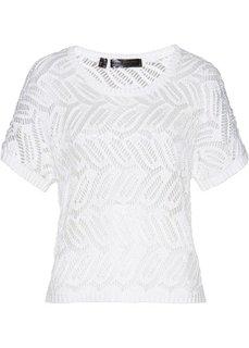 Ажурный пуловер (белый) Bonprix