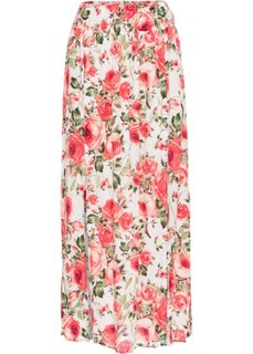 Макси-юбка с разрезами (цвет белой шерсти в цветочек) Bonprix