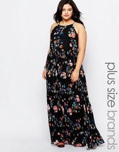 Платье макси в цветочек с плиссированной юбкой и завязкой на шее Lovedrobe Plus - Черный