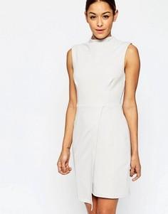 Платье-футляр с высокой горловиной ASOS - Серебряный