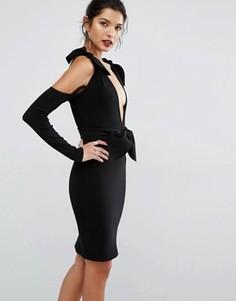 Платье с глубоким вырезом и узлом с лепестками Bec & Bridge - Черный