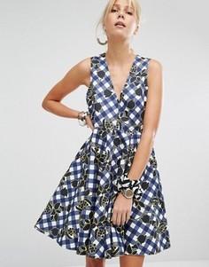 Короткое приталенное платье в клеточку Sportmax Code Charles - Синий