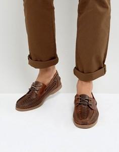 Коричневые кожаные мокасины с вплетенным шнурком ASOS - Коричневый