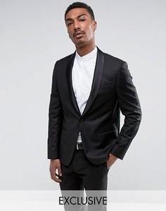 Пиджак-смокинг скинни с атласными лацканами наклонной формы Noak - Черный