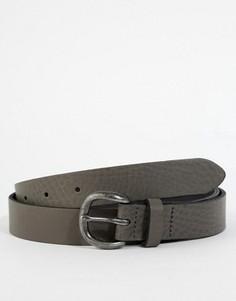 Темно-серый кожаный ремень с винтажной отделкой ASOS - Серый