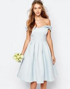 Платье миди для выпускного с пышной юбкой Chi Chi London - Синий