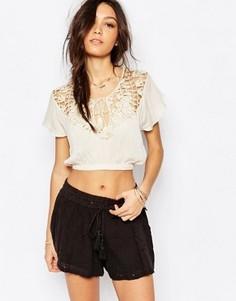Пляжная блузка со вставкой кроше Somedays Lovin Stones - Бежевый