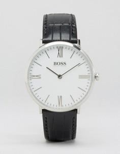 Часы с черным кожаным ремешком и белым циферблатом BOSS By Hugo Boss Jackson - Черный