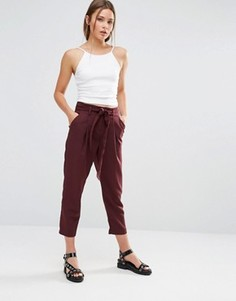 Зауженные брюки с завязкой New Look - Красный