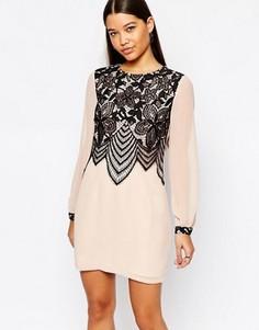 Свободное платье с кружевной отделкой спереди Lipsy - Розовый