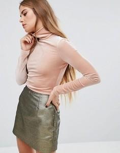 Бархатный топ с высокой горловиной Fashion Union - Розовый