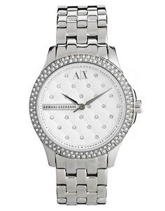 Серебристые часы со стразами Armani Exchange Lady Hampton - Серебряный