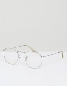 Очки в стиле гик в круглой металлической оправе с прозрачными стеклами ASOS - Серебряный