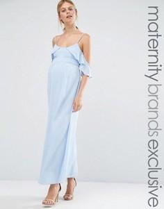 Платье макси с открытыми плечами Queen Bee - Синий
