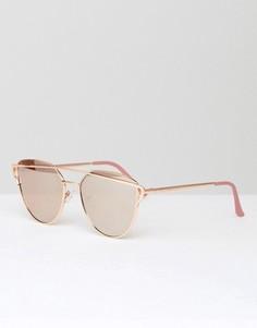 Золотистые солнцезащитные очки кошачий глаз с плоскими стеклами Southbeach - Золотой
