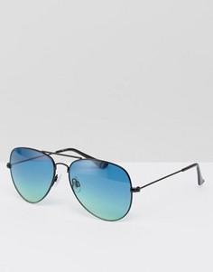 Солнцезащитные очки-авиаторы с голубыми стеклами ASOS - Зеленый
