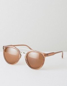 Коричневые круглые солнцезащитные очки с золотистой планкой на переносице ASOS - Коричневый
