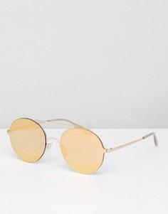 Круглые солнцезащитные очки с золотистыми стеклами ASOS - Золотой