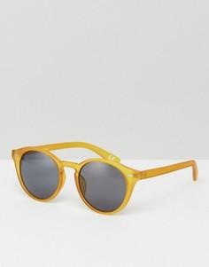 Солнцезащитные очки в круглой желтой оправе ASOS - Желтый