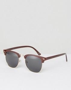Солнцезащитные очки в стиле ретро с эффектом дерева ASOS - Коричневый