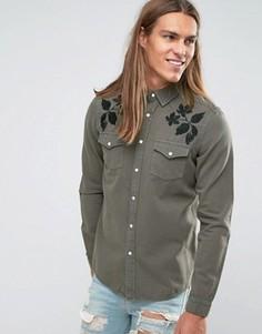 Черная джинсовая рубашка классического кроя в стиле вестерн ASOS - Зеленый