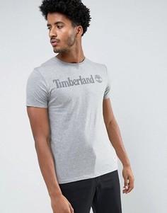 Серая меланжевая футболка узкого кроя с логотипом на груди Timberland - Серый