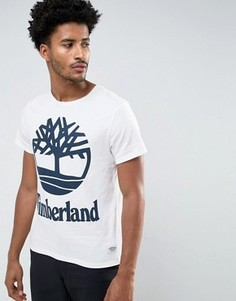 Белая узкая футболка с крупным логотипом Timberland - Белый