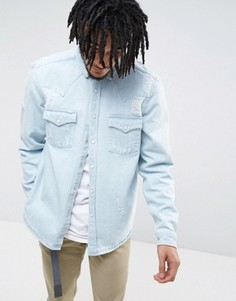 Синяя джинсовая рубашка навыпуск классического кроя в стиле вестерн ASOS - Синий