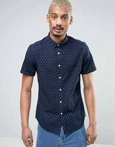 Эластичная джинсовая рубашка в горошек ASOS - Темно-синий