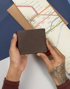 Кожаный бумажник с перфорацией Systvm - Коричневый